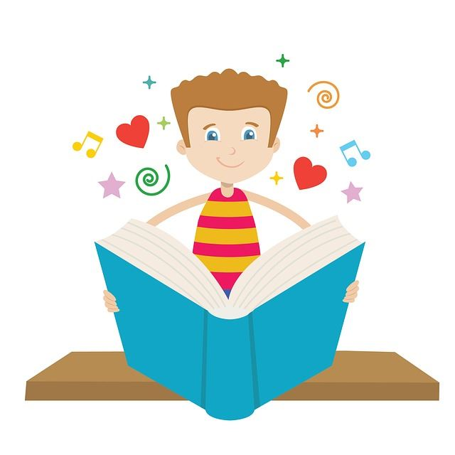 boy with book graphic