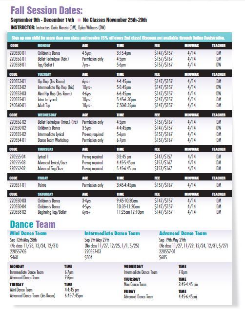 Dance Schedule 2019 Fall Brochure