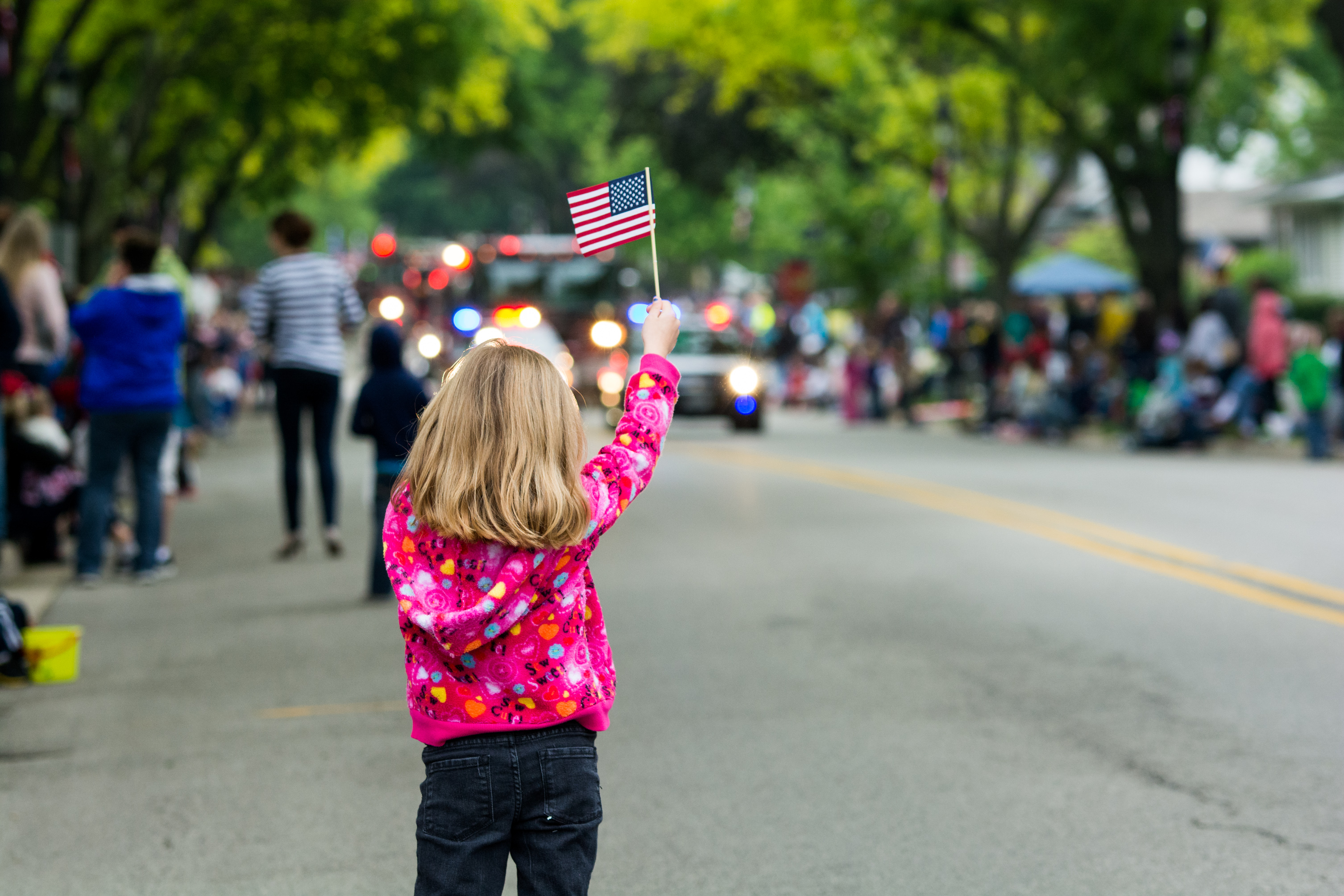 Girl Waving Flag