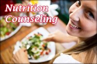 Nutrition Counseling Logo with a smiling woman